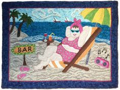 """{It's 5 O'Clock Somewhere} rug design by Sue Cunningham of Encompassing Designs.... just """"love it""""!"""