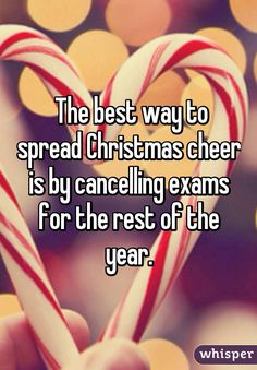 The best way to spread Christmas cheer is by cancelling exams for the rest of the year.