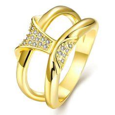 Anel Feminino Clássico Geometria Banhado a ouro Banhado a ouro rosa Cobre Zircão Festa