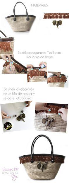 DIY...CAPAZO ESTILO AFRICANO DIY...BEACH BAG Diy Tote Bag, Tote Backpack, Reusable Tote Bags, Ibiza Fashion, Diy Fashion, Diy Sac, Ethnic Bag, Boho Bags, Straw Tote