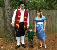 Live a Little Wilder - Peter Pan Halloween. Toddler Peter Pan, adult Captain Hook and Adult Wendy. DIY, homemade