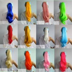 Womens Ladies Long Curly Hair ponytail Wig Cosplay Party Costume Multi Colors…