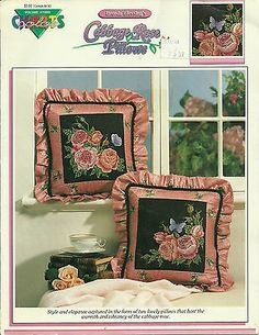 Cross Stitch Pattern Cabbage Rose Pillows, Color Charts #11005 Flowers