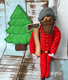 """ITH Small Doll/Elf Lumberjack Holiday Bundle Embroidery Design 12 """" Dolls 