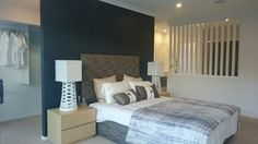 Master bedroom layout. Walkthrough wardrobe behind the bed and ensuite behind the slatted 1/2 wall