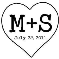 Heart and initials custom rubber stamp by StampOutOnline, perfect for DIY wedding crafts