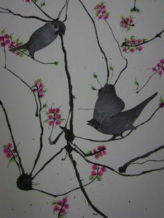 Japanse kersenbloesem : blazen van ecoline en oorstokjes voor de bloesem