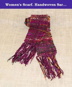 Women's Scarf. Handwoven Sari Silk with Plum Chenille. Hand woven recycled silk yarn with plum chenille creating a very rich combination of colors. Himalaya recycled silk yarn is made of mill end sari silk fabric. The colors are random with no pattern. The sari silk, by being randomly spun together, creates a silk yarn with a ragged or distressed look. By purchasing this product, you are supporting women's development groups in Nepal who are producing this recycled silk. They spin it into...