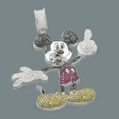This fantastic 10K Gold Color Diamond Mickey Mouse Pendant from our fancy color diamond jewelry collection showcases 5.22 ctw of sparkling white, fancy black and yellow diamonds, as well as accentuating pink sapphires. Featuring an intricate design and a highly polished gold finish, this Mickey Mouse diamond pendant is fully customizable and is available in 10K white, yellow and rose gold.