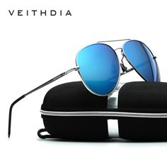 VEITHDIA Aluminum Magnesium Sunglasses Polarized Blue Lens Rotate 180 degrees leg Eyewear Accessories Sun Glasses Men/Women 3618