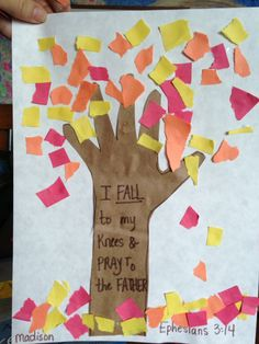 Fall craft...without the religious stuff. With all the different opinions in daycare, we try and stay away from that.