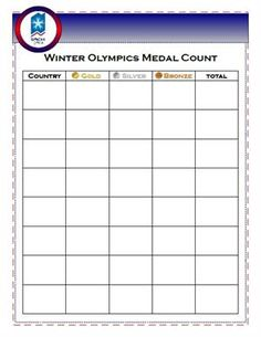 Olympic Medal Count Worksheet
