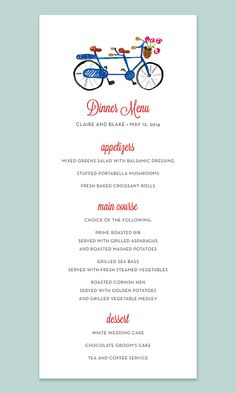 Bicycle Built for Two Wedding Menu Card with Tandem Bike by Leveret Paperie