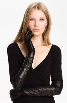 Nordstrom Opera Length Leather Gloves available at #Nordstrom Delicate goldtone studs elevate the drama of elbow-length gloves cast in svelte glacé lambskin. $168