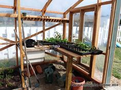 Greenhouse Sink Potting bench idea. Diy a potting bench in your wood greenhouse: http://www.usa-gardening.com/greenhouse/greenhouse.html