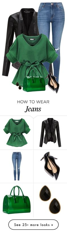 """""""green"""" by divacrafts on Polyvore featuring Miss Selfridge, Topshop, Furla, Natasha Accessories, women's clothing, women, female, woman, misses and juniors"""
