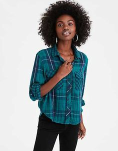 From T-shirts and tank tops to sweaters and jackets, find an awesome selection of American Eagle Outfitters Women's Tops for your individual #AEOSTYLE.