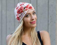Turban Hat Flirty Floral Hair Snood Doo Rag Chemo Cap Hair Covering Skullcap Full Turban Retro Accessory Stretchy Turban Hat Summer Hat