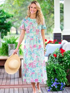 Womens Watercolor Dress from Vermont Country Store