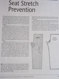 Sandra Betzina's Seat Stretch Prevention. www.friendsofpr.c...