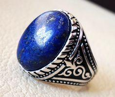 man ring lapis lazuli oval cabochon natural dark blue stone