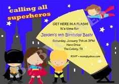 Superhero Birthday Invitation Superfriends