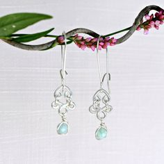 Flower Bud Wire Wrapped Silver Earrings with by CammieLaneJewelry