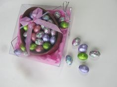 Easter Basket of Solid Milk Chocolate Holding Brightly Foiled Chocolate Eggs $14.50 #topseller