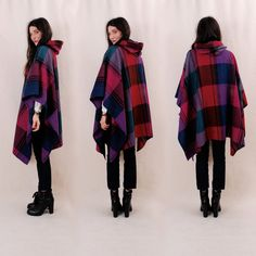 Amazing Vintage Hooded Cape Hooded Poncho