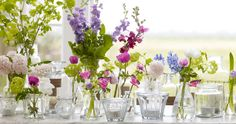 pink-white-purple-diy-centerpieces-budget-friendly-wedding-flowers-vintage-vases - The Sweetest Occasion Vintage Wedding Flowers, Yellow Wedding Flowers, Wedding Table Flowers, Purple Wedding, Rustic Wedding, Trendy Wedding, Boho Wedding, Rustic Centerpieces, Wedding Centerpieces