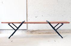 Pipe Bench | Industrial Pipe Bench | Industrial Furniture | Wood Bench | Dining Bench | Metal Legs | Entryway Bench | Metal Legs