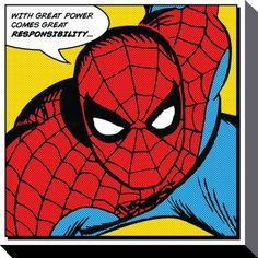 Spider-Man - Marvel Comics - Quote - Canvas Print 40 x 40 cm                                                                                                                                                                                 More