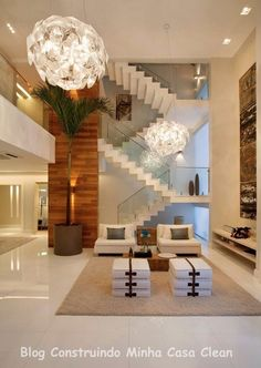 LUMINÁRIAS PENDENTES, LUMINI Construindo Minha Casa Clean: Casa Maravilhosa! Fachada e Interior Super Moderno!!!