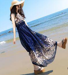 Long Boho Dress Summer Beach Maxi Evening Party Sexy Women Dress Chiffon Dress