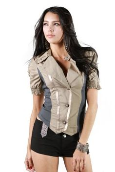 Amazon.com: Afterpink Military Style Button Down Short Sleeve Jacket Cluewear Women Top: Clothing