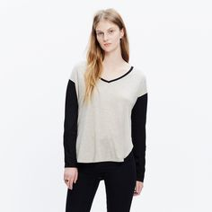 NWOT Madewell Anthem Long Sleeve NWOT never worn, Anthem long sleeve in color-blocked beige and black. Purchased from Madewell, size medium Madewell Tops Tees - Long Sleeve