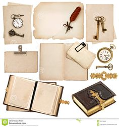 old books and clocks | book and vintage accessories isolated on white background. old clock ...