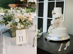 The cake perfectly matches the centerpieces! An Everlasting Moment, San Francisco Bay Area Wedding Planner.