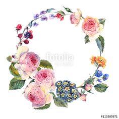 """Pobierz zdjęcie royalty free  """"Vintage wreath of flowers bouquet with English roses"""" autorstwa depiano w najniższej cenie na Fotolia.com. Przeglądaj naszą bazę tanich obrazów online i odnajdź doskonałe zdjęcie stockowe do Twoich projektów reklamowych!"""
