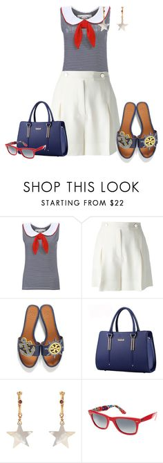 """""""Tory Burch Sandals"""" by andreaaitken ❤ liked on Polyvore featuring Valentino, Tory Burch, Theodora Warre and Ray-Ban"""