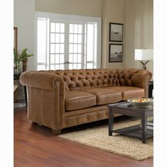 Hancock Tufted Distressed Saddle Brown Italian Chesterfield Leather Sofa (Brass)