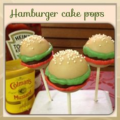 Hamburger design cake pops.Skewers from hobby Lobby. Backyard bbq party, cookout and camping ideas.