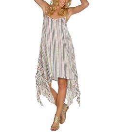 Loving this Cream Stripe Ruffle Handkerchief Dress on #zulily! #zulilyfinds