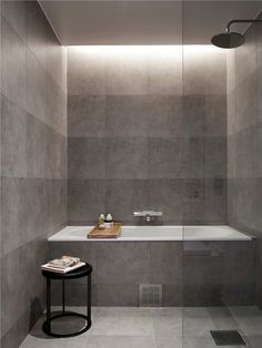 Shower room lighting (shower room ideas) Tags: shower room layout Shower Room Accessories shower room floor shower room with tub shower room door Bathroom Renos, Grey Bathrooms, Beautiful Bathrooms, Bathroom Interior, Modern Bathroom, Small Bathroom, Bathroom Tiling, Tub Tile, Minimal Bathroom