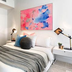 Such a great contemporary bedroom by @kmode_stylist - thanks to Kate, Jessie and the team. Painting by me.  For enquiries regarding the hire and sales of original art, please hit the enquiry button in my profile. Many thanks x