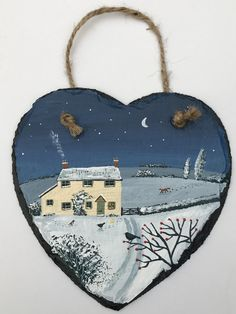 Winter Chill - acrylic on a 6 inch slate heart (SOLD)