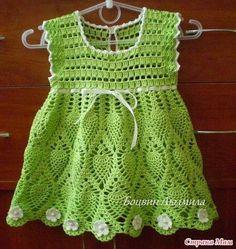 Olá pessoal... Vim deixar um charmoso vestido para bebe feito em croche.        Os créditos da peça estão na foto!   Para quem quiser fazer...