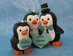Personalized Penguin Family Wedding Cake Topper by Buttonwilloe, $92.00