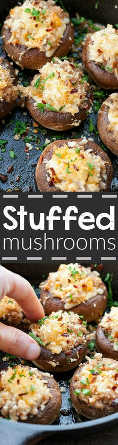 Crab Stuffed Mushrooms :: this awesome appetizer is perfect for your next party + great for Game Day!