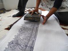 Hand block printed Linen Fabric Storage Bucket Raja. papatotoro